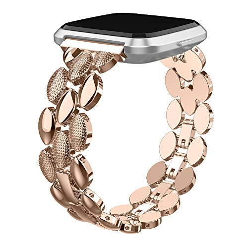 TOYOUTHS Metal Link Compatible with Fitbit Versa/Versa 2/Versa Lite Special Edition Bands Women Men Stylish Strap Bracelet Replacement Wristbands Accessories 5.5-8 inches (Dark Golden)