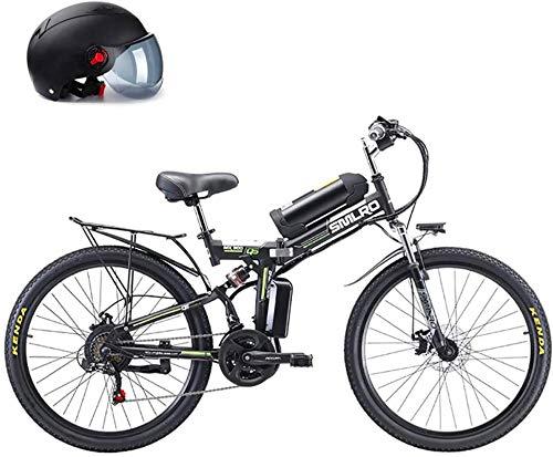 Bicicletta Elettrica, 26  Pieghevole for biciclette a motore, batteria al litio rimovibile 48V 8AH, 350W Motor Straddling Easy Compact Compact, Pieghevole Mountain Bike elettrica, Bianco ,Bicicletta