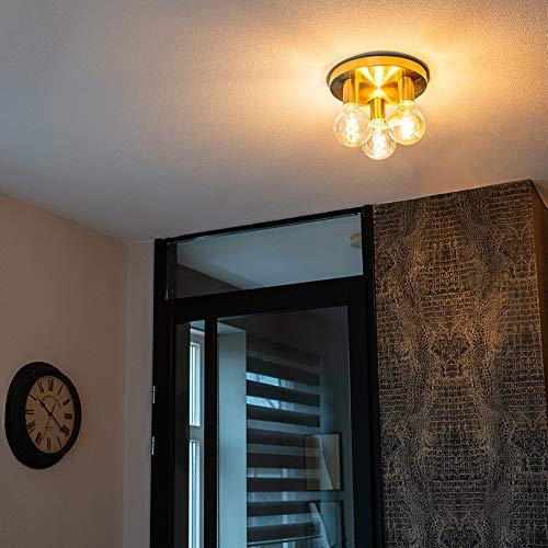 QAZQA - Design Art Deco Deckenleuchte | Deckenlampe | Lampe | Leuchte Gold | Messing - Facil 3-flammig | Wohnzimmer | Schlafzimmer | Küche - Stahl Zylinder | Rund - LED geeignet E27