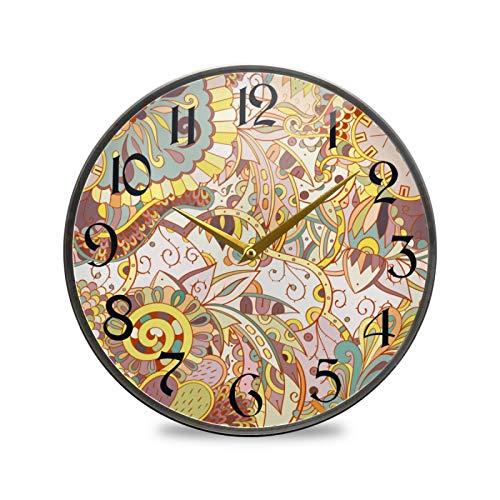 ART VVIES Reloj de Pared Redondo de 12 Pulgadas Que no Hace tictac silencioso Funciona con Pilas Oficina Cocina Dormitorio decoración del hogar-Flor de Arte clásico Abstracto