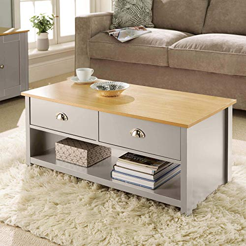 Home Source Oak Coffee 2 Drawer Occasional Table, Grey,...