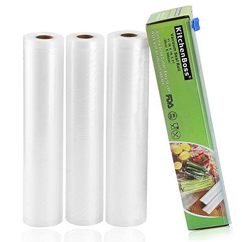 KitchenBoss Vakuumrollen mit Cutter-Box, 3 Rollen 28x500cm Folienrollen BPA-Frei und FDA-Approved für alle Vakuumierer, stark & reißfest & kochfest & wiederverwendbar für Sous Vide