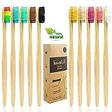 Spazzolino Bamboo,Spazzolini da denti naturali eco-compatibili per adulti con setole morbide,con Setole di Carbone Morbide e Disegno Ergonomica-10 Colori,Confezione Biodegradabile Sostenibile