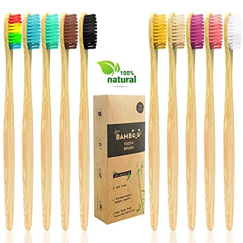 Cepillo Dientes Bambu, Cepillos de Dientes de Bambú Natural Ecológico de 10 Piezas con Cerdas Suaves para,Biodegradables y Sin Plástico Embalaje