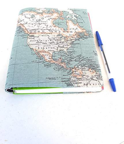 Funda para Libro 20 cm diseño Mapa Mundo. Planificador Semanal• Cuaderno • Agenda • Diario • Regalo San Valentin • de Viaje • Diario • Calendario • Agenda 2020