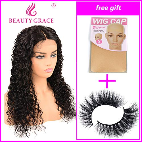 Beauty Grace Human Hair Deep Wave Closure Wigs 9A Brazilian Virgin 22Inch Human Hair Deep Wave Lace Closure Wigs for Fashion Women Natural Color (22Inch)