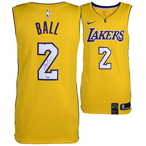 LONZO BALL Autographed Gold Los Angeles Lakers Jersey FANATICS - Autographed NBA Jerseys