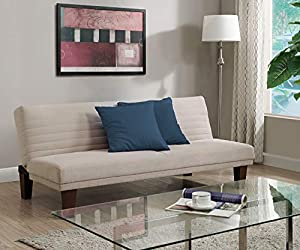 Product Measurements- 30 L x 69 W x 29 H inches | The sleep dimensions are 38 D x 69 W x 14.5 H inches Vanilla model has faux leather upholstery while the tan and gray models have microfiber upholstery Tapered legs for a relaxed look Sturdy wood fram...
