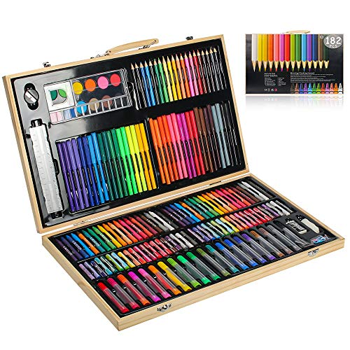 MIAOKE 182 Set de Pintura Niños, Caja de madera Deluxe y Kit de Kit de dibujo con lápices de colores, pincel de acuarela, crayones de cera, pasteles al óleo, pastel de acuarela, 46,5 * 28,5 * 4,1 cm