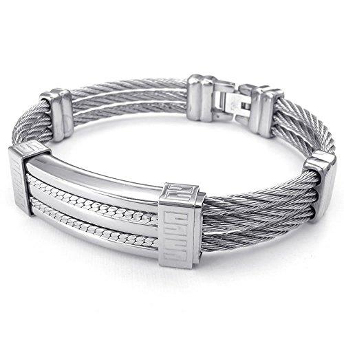 KONOV Jewellery Herren Edelstahl Draht Armband, Armreif, Silber (mit Geschenk Tüte)