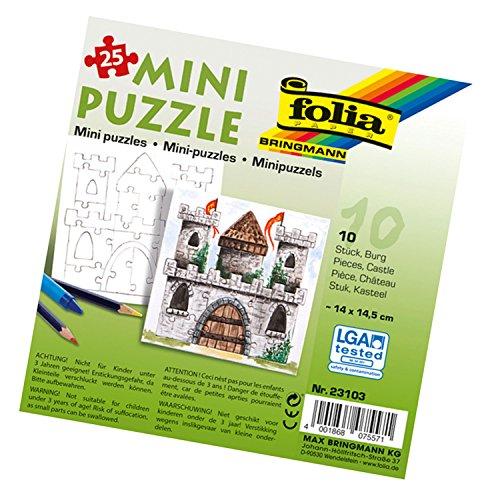 folia 23103 - Mini Puzzle Burg, ca. 14 x 14,5 cm, 25 Teile, 10 Stück, weiß - erst Puzzeln dann Malen, für Kinder, Jungen und Mädchen