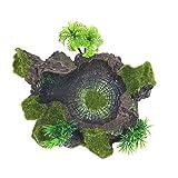 Liupin Store - Plato de resina para reptiles, diseño de tronco de árbol artificial para reptiles, para lagartos, gecko, rana de agua (color verde)