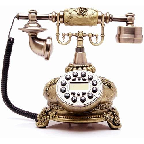 VERDELZ Teléfonos Fijos Fijos Teléfonos Fijos Fijos Teléfono Antiguo con Cable Teléfono Antiguo De Bronce con Pantalla De Identificación De Llamadas para Oficina En Casa Y Hotel