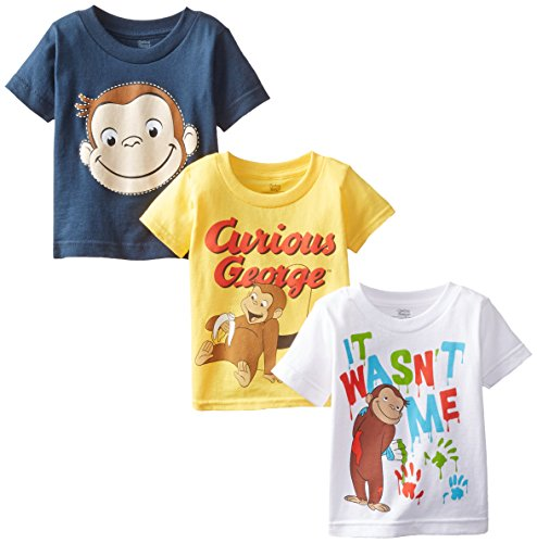 Curious George Little Boys' Toddler Boys T-Shirt 3-Pack, Assorted 2, 2T
