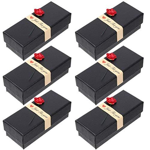 YLSZZTT Caja De Regalo De Flores Creativas De 6 Uds, Caja De Joyería con Diseño De Rosas, Caja De Papel Delicada, Caja De Joyería con Cubierta Mundial De Flores Rosas (Color : Black)