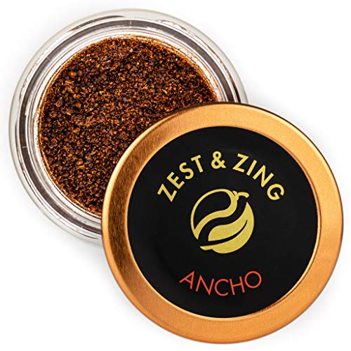 Zest & Zing Ancho Chilli (Ground), 23G Vaso per Spezie - Premium Chillis di Zest & Zing. Vasetti di Spezie Più Freschi, Convenienti e Impilabili.
