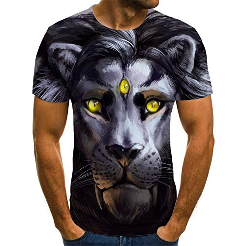 JSWBNMU T-Shirt Imprimé en 3D,Création De Mode Trois-Eyed Imprimé Animal Lion T Shirt Pull Col Rond Manches Courtes Décontracté Grande Taille des T Shirts Tops Fashion Vêtements Couple Sauvage,4XL