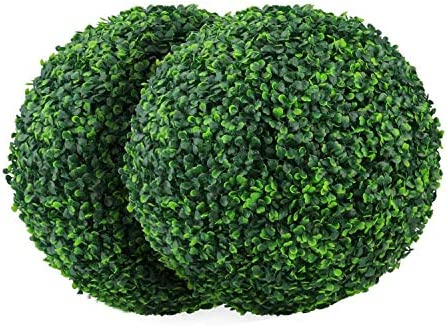 Binchil 2 PCS 15 7 Inch Artificial Plant Topiary Ball Faux Boxwood Decorative Balls for Backyard product image