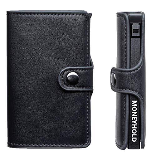 Porta Carte Credito - MONEYHOLD™ - Porta Carte di Credito Schermato RFID e Porta Banconote - Porta Tessere e Fermasoldi, Elegante e Tascabile - Fibra Di Carbonio (1 - Nero)