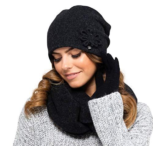 Kamea Winterset für Damen Kansas 2-Teilig bestehend aus Loop-Schal und Wintermütze, Beanie, Damenschal als Winter-Schal - verschiedene Farbauswahl, Winter Set:Schwarz