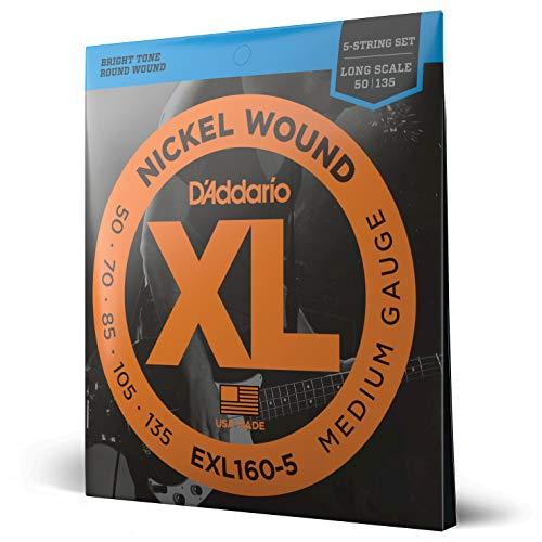D'Addario EXL160-5 - Juego de cuerdas para bajo eléctrico de níquel.050 - .135, plateado