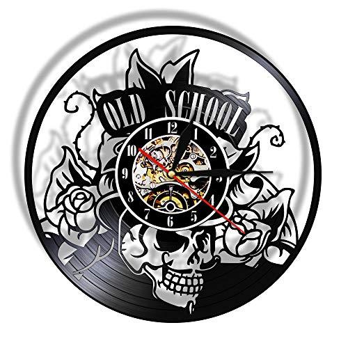 GZWSM Old School Art Tattoo Studio Wandschild Stille Schallplatte Wanduhr Totenkopf mit Blume Uhr Wandkunst Dekor Hipster Männer Geschenk-Ohne_LED