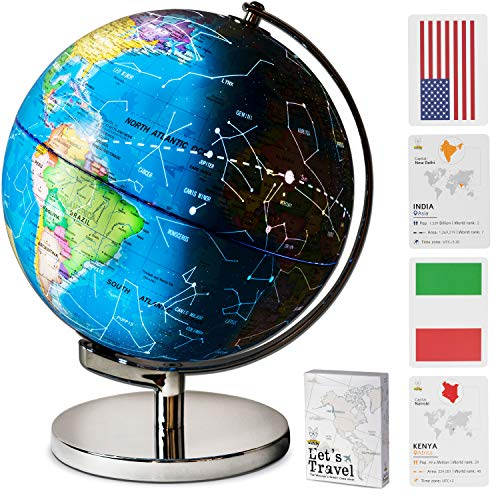 "9"" Children Illuminated Spinning World Globe with Stand Plus Flags STEM Card Game. 3 in 1 Interactive Educational Desktop Earth Globe for Kids