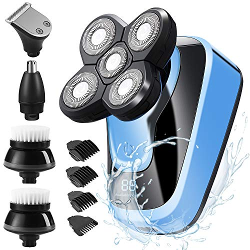 2020 New Upgrade Mens Electric Shavers,5 In 1 Electric Head Shavers For Bald Men,Led Cordless Rechargeable Wet & Dry Rotary Shaver Grooming Kit For Clippers Nose Hair Trimmer Facial Cleansing Brush