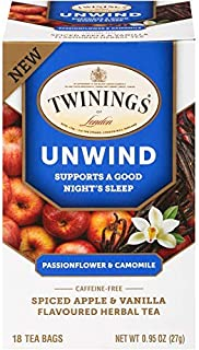Twinings of London Daily Wellness Tea, Unwind Sleep Supporting Passionflower & Camomile, Spiced Apple & Vanilla, Flavored ...