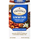 Twinings of London Daily Wellness Tea, Unwind Sleep Supporting Passionflower & Camomile, Spiced Apple & Vanilla, Flavored Herbal Tea, 18 Count (Pack of 1)