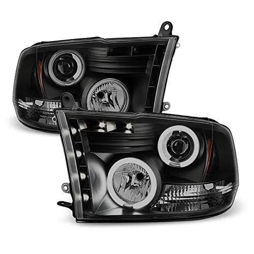ACANII - For 2009-2018 Dodge Ram 1500 10-18 2500 3500 LED CCFL Halo Black Smoked Projector Headlights Headlamps Assembly