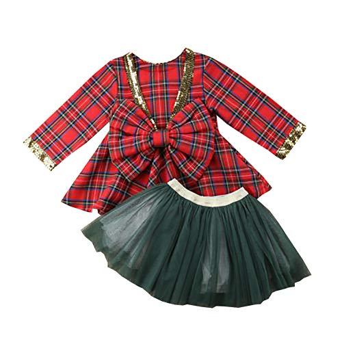 Carolilly - Vestido de Navidad para bebé o niña, manga larga a cuadros, con tutú y falda verde, conjunto de lentejuelas con lazo Rouge et Vert 90 cm /2-3 años