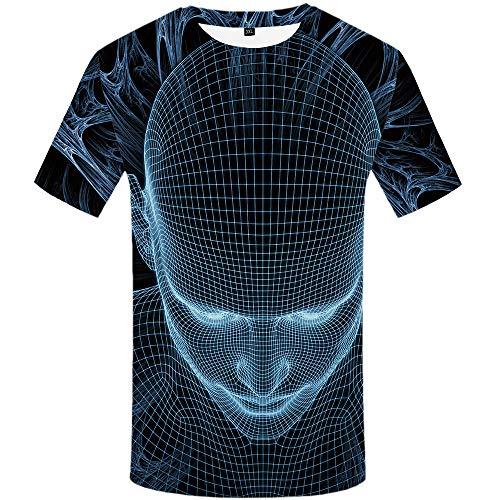 YAMAO Rundhals T- Shirt Homme,Sport, Visage T-Shirt Homme 3DT Chemise à Manches Courtes imprimé col Rond vêtements décontractés pour Hommes