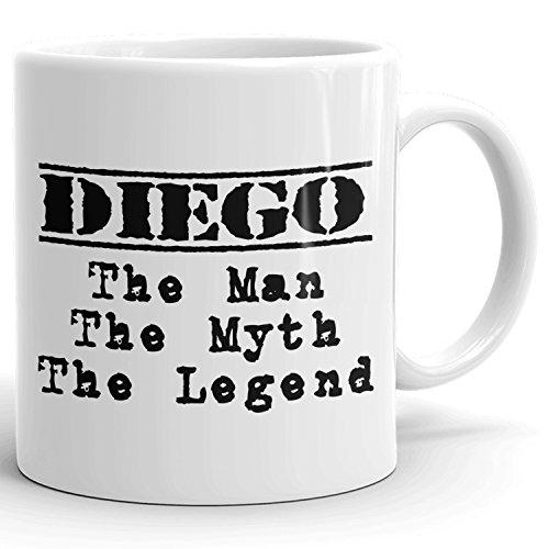 Diego Coffee Mug Tazas Personalizadas con Nombres- The Man the Myth the Legend - Best Gifts Regalos for Men - 11 oz White mug