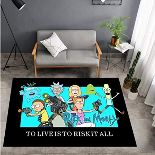 Alfombra Rick Y Morty Rick Y Morty Alrededor De La Sala De Estar Dormitorio Guardarropa Mesa De Café Animación Dormitorio De Estudiantes Junto A La Cama Alfombrillas Antideslizantes
