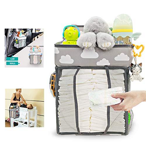 Hanging Crib Organizer, Windel Organizer, Multifunktionale Nachttischtasche zum Aufhängen für Hängen auf Babybett, Auto, Wickeltisch oder Wand für Neugeborene und Junge Eltern