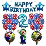 JSJJAET Globo 1set Mario Globos 32 Pulgadas número Globos Muchacha Muchacha cumpleaños Fiesta Mario Luigi Bros Mylar Azul Rojo Globo Conjunto decoración (Color : Blue-1)