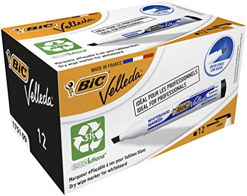 Bic Velleda 1751 Whiteboard Marker Chisel Tip Line Width 3.7-5.5mm Black Ref 1199175109 [Pack 12]