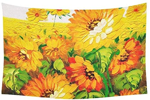 Yuanmeiju Tapiz Oil Painting Sunflower Tapestries Wall Hanging Flower Psychedelic Tapiz Wall Hanging Indian Dorm Decor For Living Room Bedroom 60 X 40 Inch