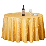 Byqny Mantel redondo a prueba de polvo clásico de damasco, de color liso, de tejido liso, sin arrugas, resistente a las manchas, mantel circular para cenar, velas, fiesta, boda