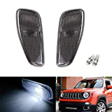 iJDMTOY Smoked Lens White LED Bulb Front Side Marker Light Kit Compatible With 2015-up Jeep Renegade, Replace OEM Amber Sidemarker Lamps