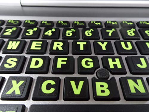 Keyboard Stickers with Fluorescent Inlays Plus USB Light. Extra Large Symbols. Inlays (Not Printed). Will Not Wear or Fade. U.S. English Laptop & PC