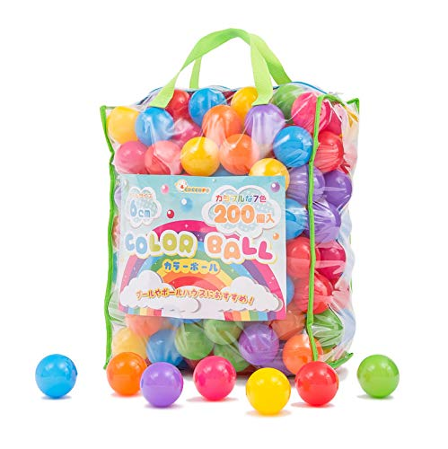 coccoro カラーボール 200個入り 7色 直径6cm 収納バッグ付き(ボールプール/キッズテント/キッズハウス用)