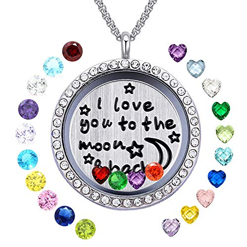Floating Living Memory Locket Pendant Necklace Family Tree of Life Birthstone Necklaces Mothers Day Gifts (Moon and Back Locket)