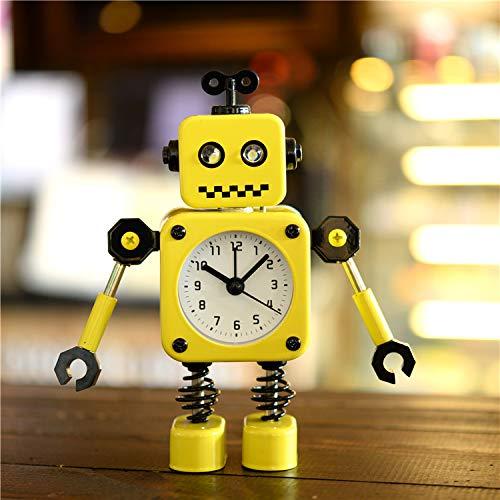 Luxuryclock Creatieve wekker van metaal, robotwekker, voor sieraden, studenten, wekker, verjaardag, cadeau Creative Metal Robot (Yellow)