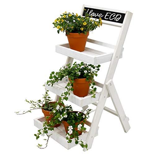 ECD Germany Blumenleiter Blumentreppe Blumenregal Blumenständer Pflanzentreppe Pflanzenregal - aus Holz - Weiß - HxBxT ca. 71,5 x 36,5 x 5,5 cm - 3 Ablage - mit Kreidetafel - für Drinnen und Draußen