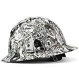 Full Brim Hard Hat Construction Osha Approved Hardhats, Men Women Safety Helmet, 6 Point, Custom White Money And Honeys Tattoo Design, By Acerpal