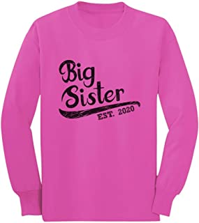 Girls Big Sister Est 2020 Sibling Gifts Toddler/Kids Long Sleeve T-Shirt