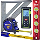 All In One Measuring Kit - Includes 130' Laser Distance Measure, Torpedo Level, 25' Tape Measure, Carpenter Square, Pencils With Sharpener, Carrying Case. Perfect For Contractors & DIY