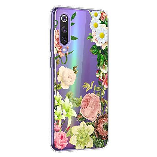 Suhctup Moda Coque Compatible pour Xiaomi Redmi 8,Transparent Silicone TPU Souple Étui avec [Motif Fleur] Crystal Ultra Fine Shock-Absorption Antichoc Protection Housse Cover Case(Fleur 7)